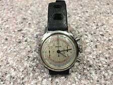 EARLY WATERPROOF CROTON CHRONOGRAPH WATCH WITH SS CLAM SHELL CASE. SERVICED