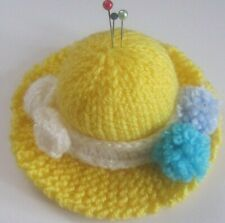 HAND KNITTED  YELLOW BONNET PIN CUSHION. EASTER / SPRING