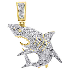 "10K Yellow Gold Real Diamond Great White Shark Jaws Pendant 1.95"" Charm 1.50 CT."