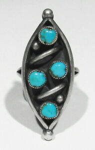 Large Old Pawn 1960s Dishta Zuni Handmade 925 Silver Natural Turquoise Ring 7