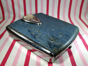 Vintage 1950's Borg Bathroom Scale Chrome & Blue Tear Drop Bubble Glass WORKS!