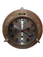 VINTAGE SHIPS TIME QUARTZ CLOCK BRASS PORT HOLE NAUTICAL THEME BAROMETER...