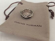 100% Authentic DAVID YURMAN Diamond X Crossover 925 Sterling Ring Size 6