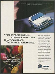 SAAB 9000 AERO - Saab Ecopower Turbo Engine - 1995 Vintage Print Ad