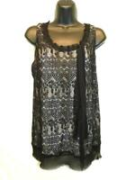 Cabi S Emily Lace Sleeveless Ribbon Top Cami Blouse 552 Beige Lined Shirt Small