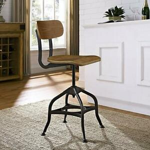 Modway Mark Industrial Dining Stool, Chair, Brown New