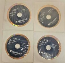 Lot of four (4) Windows 7 Professional 32 64 bit DVDs Two with COAs