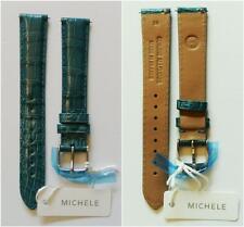 Michele 16MM TEAL Watch Band Strap Genuine Alligator Skin