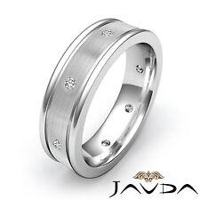Diamond Mens Eternity Wedding Band Center Brush Solid Ring 14k White Gold 0.20Ct
