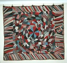 """""""Dubuffet"""" ABSTRACT/CRAZY QUILT w Medallion & Flange: 60"""" x 75"""" Wools, c1900, NY"""