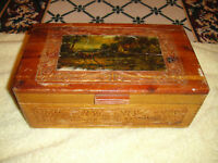 Antique Dovetail Wood Trinket Box Mirror Picture