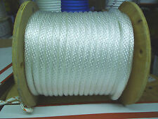 "ANCHOR LINE DOCK LINE 3/8"" X 100' BRAIDED WHITE NYLON 2800 lb tinsel MADE IN USA"