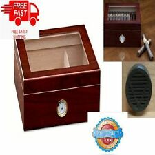 50 Cigar Humidor Box Hygrometer Humidifier Wood Case Glass Cherry Spanish Cedar