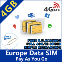 SPANISCHE PREPAID SIM KARTE SPANIEN INTERNET ANRUFE GO EUROPE ORANGE MUNDO 4GB