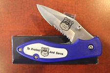 "FOLDING KNIFE ""POLICE - TO PROTECT & SERVE"" LINERLOCK BLADE 4 1/4"" closed w/clip"