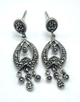 Vintage Sterling Silver Hematite Dangle Drop Pierced Ear Earrings Signed 925 NF