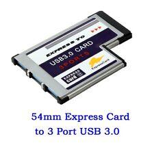 USB 3.0 54mm 3 Port Express Card Adapter Expresscard for Laptop FL1100 Chip