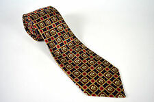 Rochas Paris Made In Spain Mens Gold/Red/Blue 100% Silk Mens Tie
