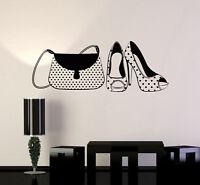 Vinyl Wall Decal Handbag and High Heel Shoes Fashion Woman Stickers Mural ig4964