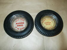 2 SEIBERLING SEALED-AIRE TIRE ASHTRAY WITH GLASS INSERT