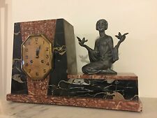1930's FRENCH ART DECO MARBLE CLOCK WITH STATUE SCULPTURE BY P.SEGA. SIGNED