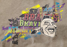 Mitchell & Ness Atlanta Braves Gray Stacked Crewneck Sweatshirt Size Large Neon