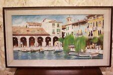 Dipinto olio su tela raffigurante porto di desenzano del garda painting canvas
