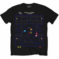 Men's Pac-Man Game Screen Design Black T-Shirt Retro Tee - Sizes S-XXL