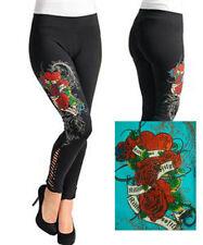 I55 -L/Large-  BLUE,Cotton Long,Roses Tattoo Print,Rinestones Leggings