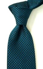 "$250 NWT TOM FORD Woven Blue & Black Houndstooth Silk Neck Tie Italy 3.4""W"
