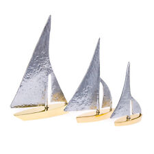 Sailing Boat Set of 3 - Metal Decor Handmade Nautical Ornament - Gold