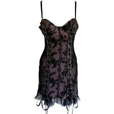 """""""Lip Service"""" Mini Dress Black Rose Lace over Pink + Faux Leather (WAS £110)"""