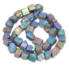 10MM TITANIUM RAINBOW PYRITE GEMSTONE RUGGED NUGGET CUBE LOOSE BEADS 7.5""