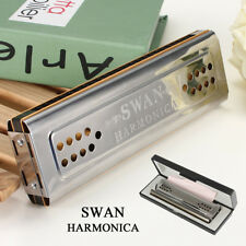 Swan Harmonica 24 Holes Key of C & G Double Sided Tremolo Mouth Organ Sliver New
