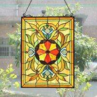 "25"" Tiffany-Style Stained Glass VIctorian Sunburst Floral Window Panel"