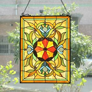 """25"""" Tiffany-Style Stained Glass VIctorian Sunburst Floral Window Panel"""