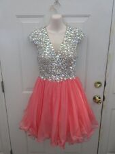 GLS Homecoming Prom Bridesmaid Coral Pink Nude Sequin Beaded Medium Adult MA