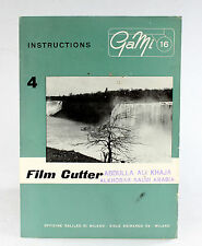 Original GaMi 16 Manual for Filmcutter, 4 pages, no print date