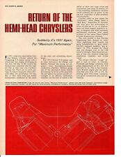1964 RETURN OF THE HEMI-HEAD CHRYSLERS ~ ORIGINAL 3-PAGE ARTICLE / AD