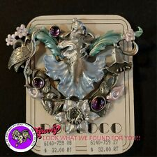 """JJ"" Jonette Jewelry Silver Pewter ' Fairy Flowers Colored' Gem Stones  Pin"