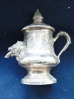 MINIATURE SILVER PLATED OLIVE OIL PRESS ANTIQUE ENGRAVED, CAST HANDLE AND SPOUT
