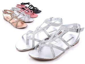 Silver Color Thong Rhinestones Buckle Closure Slingback Womens Sandals Size 5.5