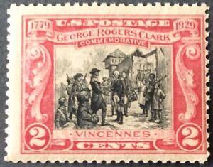 1929 2c George Rogers Clark Commemorative single, Scott #651, MNH, F, crease