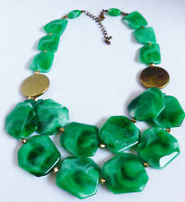 "VTG Chunky Marbalized Green beads Cascade fashion necklace 23"" L"