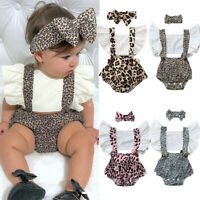 Infant Newborn Baby Girls Ruched Leopard Print Romper Bodysuit Outfits Cloth
