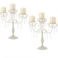 2 Ivory ELEGANCE Candelabra Stand Pillar Candle WEDDING Centerpieces