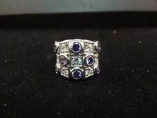 .925 STERLING SILVER RING WITH MULTI CLEAR AND AMETHYST COLORED CRYSTALS 5 1/2