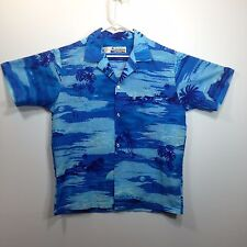 Genuine Hawaiian Aloha Shirt - Shoreline Hawaii - M - Blue Island scenes