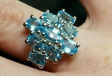 Swiss BlueTopaz  4.72ct Solid Sterling Silver Ring.Size J-K Hallmarked