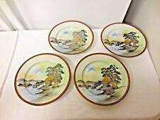 Lot 4 Mt Fuji Japanese Mountain & Water Scene Small Plates-Gold Accents-Red Band